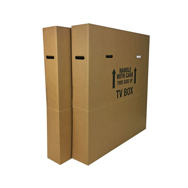 Brand New Flat Screen TV Boxes (2-pack) by UsedCardboardBoxes. Corner view.