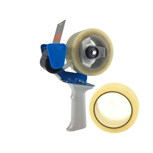 A tape dispenser, also known as a tape gun, which utilizes rolls of tape which are 2 inches wide, along with 2 rolls of tape measuring 2 inches by 55 yards, by UsedCardboardBoxes.