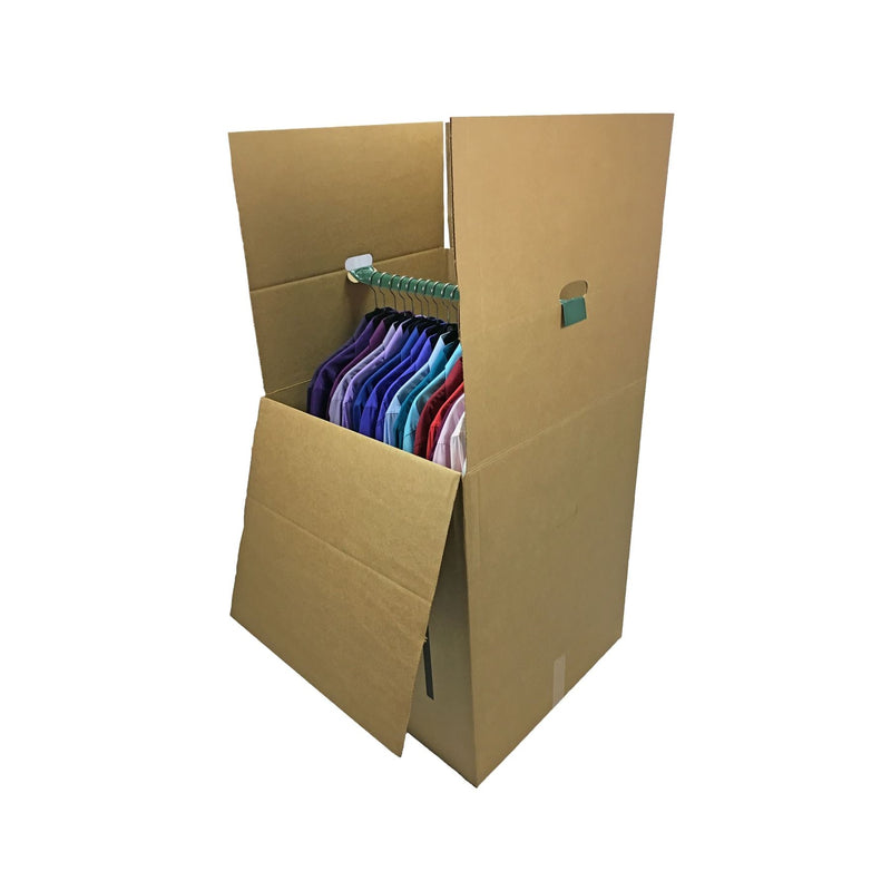 "3 NEW Wardrobe Moving Boxes (20""x20""x34""), including metal bars, by UsedCardboardBoxes."