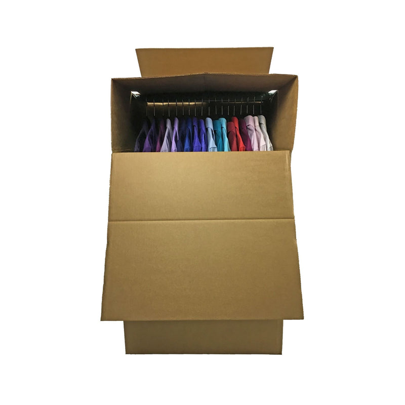 "3 NEW XL Wardrobe Moving Boxes (24""x24""x40""), including metal bars, by UsedCardboardBoxes."