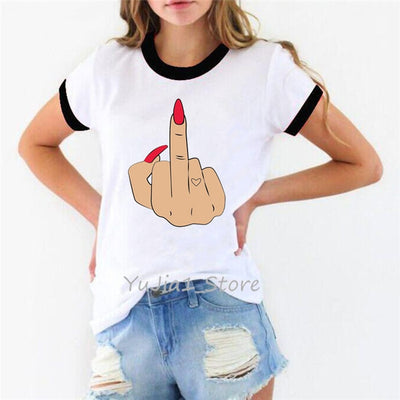 Mood Middle Finger Printed Funny T-shirts