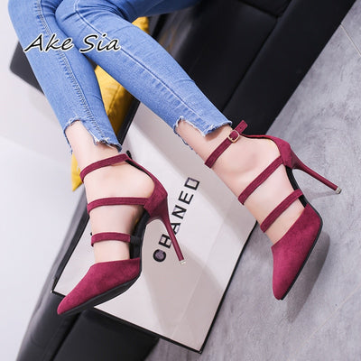 Pointed high-heeled shoes with shallow mouth
