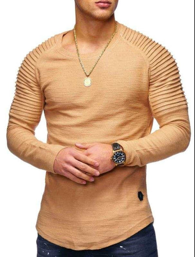 Solid Color Sleeve Pleated Patch T-Shirt
