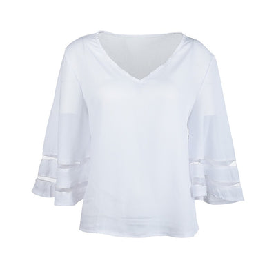 White V Neck Short Sleeve Solid Sweatshirt