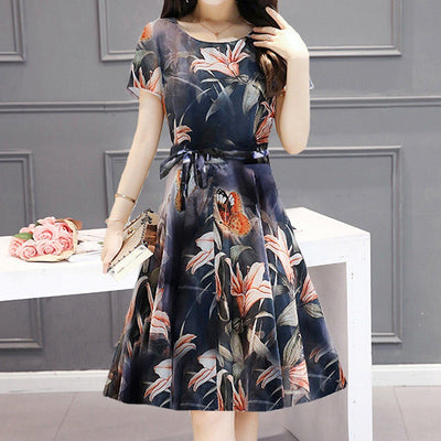 Women Daily Casual Polyester printing Short sleeve dress