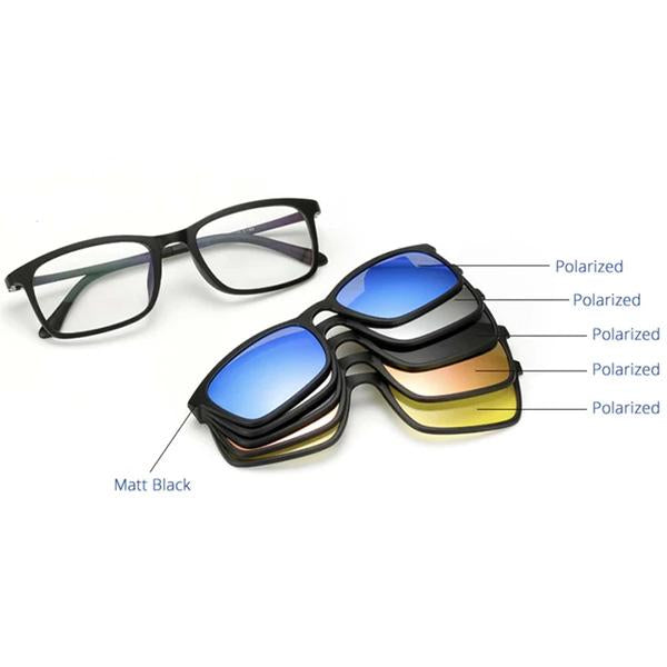 😎5 In 1 Magnetic Sunglasses (Polarized - 100% UV Protection)