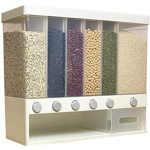 Wall-Mounted Rice Storage Tank -  6-in-1 Dry Food Dispenser