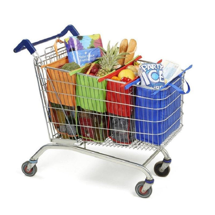 4 Pcs Foldable Reusable Shopping Cart Storage Bags Supermarket Trolley