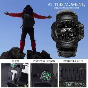 outdoor multifunctional survival waterproof watch-Free Shipping