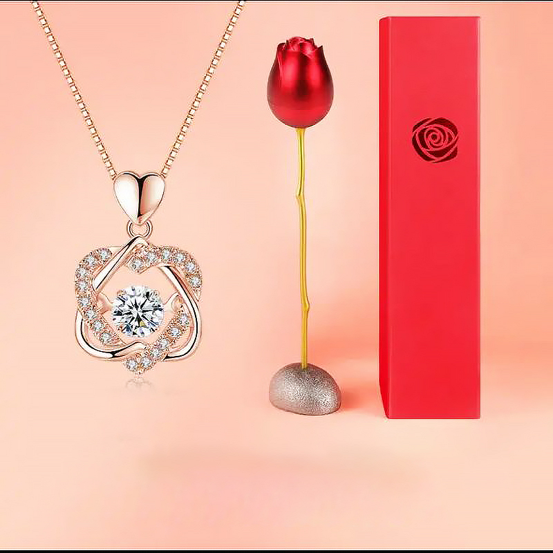 Pendant Necklace And Rose Gift💎