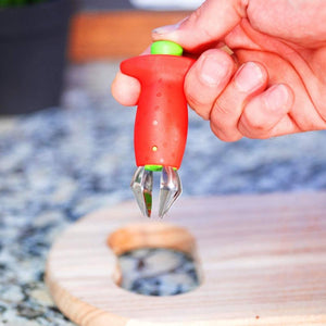 Easy-Release Strawberry Stem Remover -  removing the stems of  fruits and vegetables