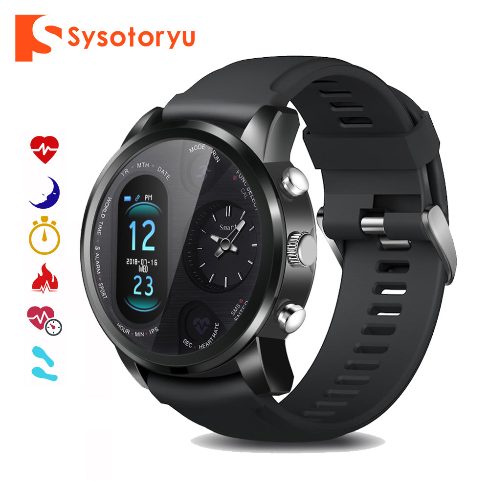 SYSOTORYU T3pro Smart Watch Dual Time Zone Sport Men Waterproof Smartwatch Heart Rate Bluetooth Activity Tracker for IOS Android