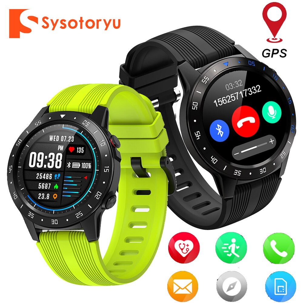 SYSOTORYU GPS SIM Card Smart watch Heart Rate Blood Pressure Monitor smartwatch Men Bluetooth Phone call for IOS Android Phone