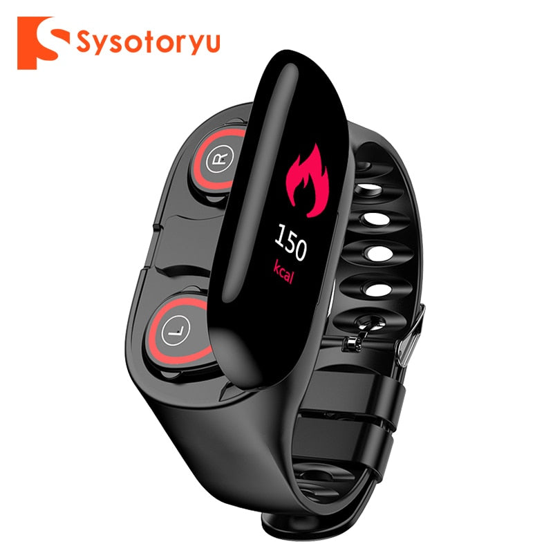 SYSOTORYU M1 Smart Watch with Bluetooth Earphone Heart Rate Monitor Blood Pressure droppshipping watches for IOS Android Phone