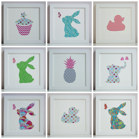 Girl's cut-out art pictures for Christening, Birthday or new baby gift.