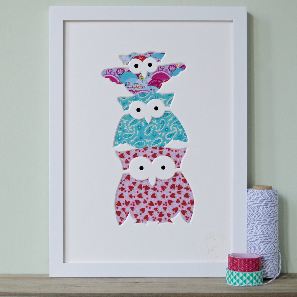 Turquoise and Pink Owl Family Cut-Out Picture