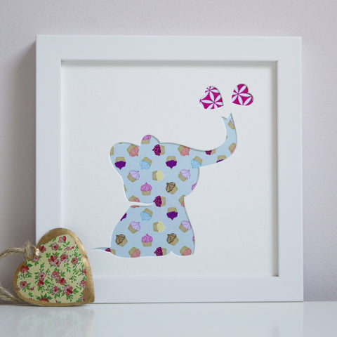 Personalised Baby Elephant & Hearts Artwork