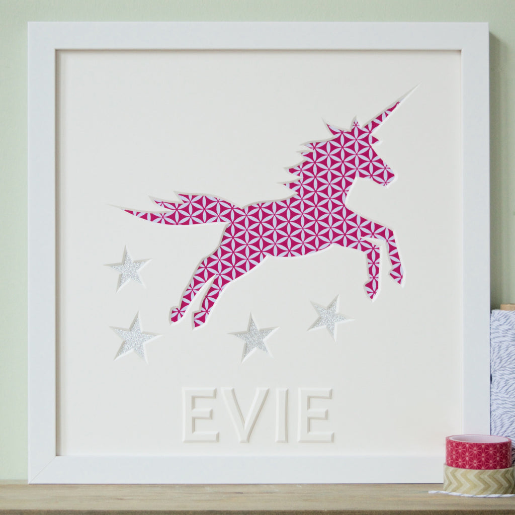 Framed Personalised Girl's Unicorn Christening gift picture