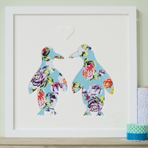 Framed Penguin Couple Cut-Out Picture