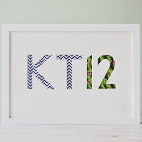 Postcode Cut-Out Mount Art
