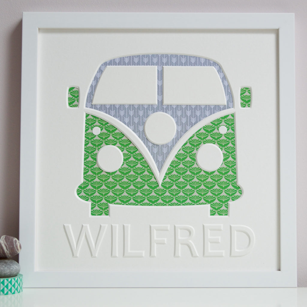 Framed Personalised Campervan wall art for a child in white frame and green print.
