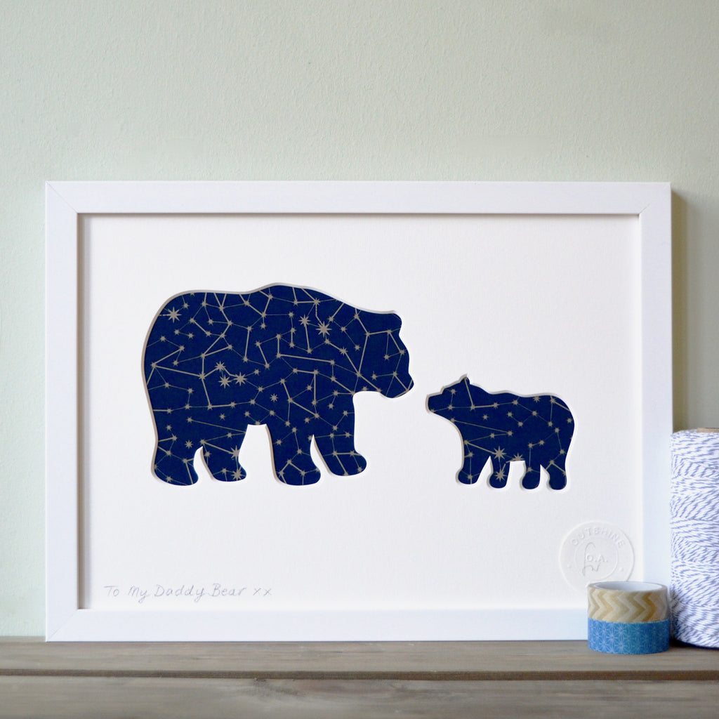 Framed Daddy and Baby Bear Cut-Out Artwork
