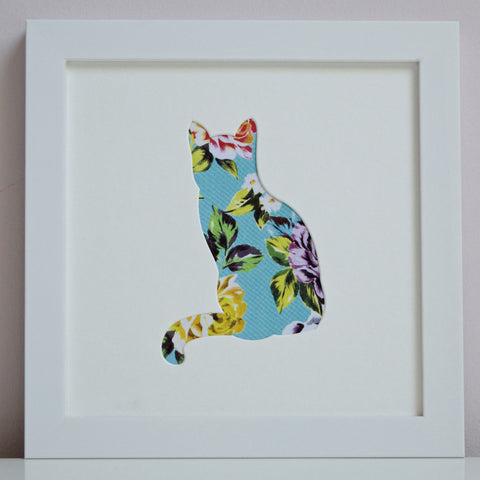 Framed Cat Cut-Out Artwork