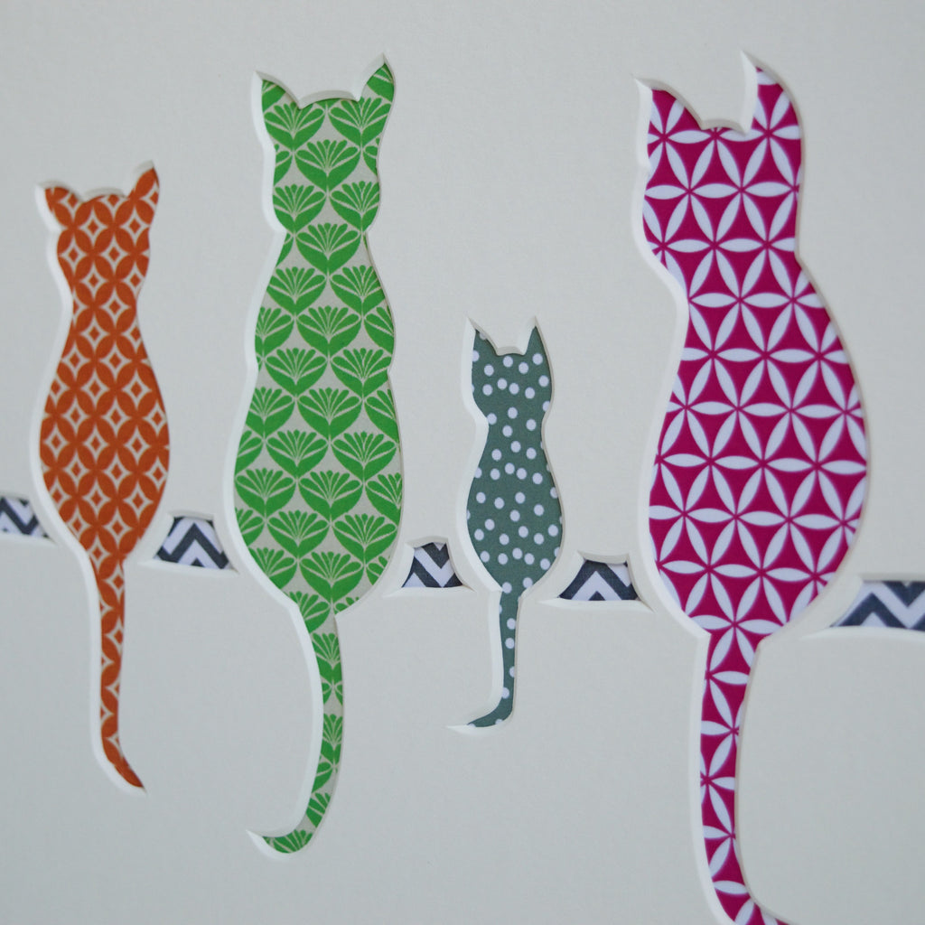cat and kitten family cut out artwork by outshine art