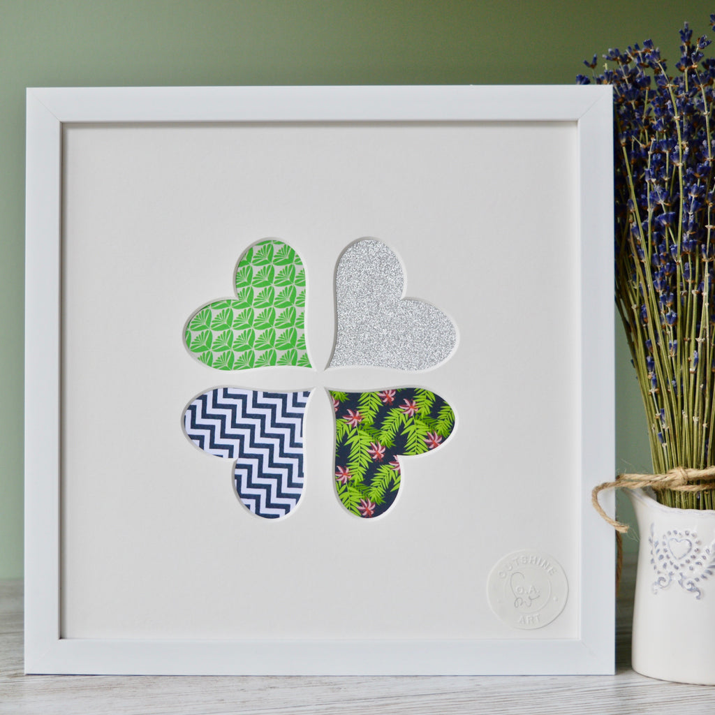 Framed Heart Wall Art in Tropical Green, Grey ZigZag and Silver Prints