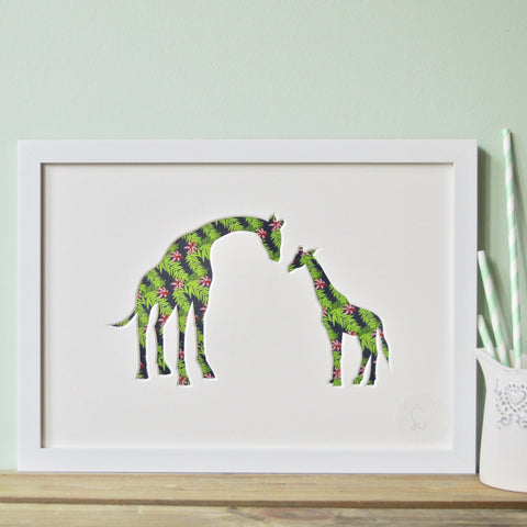 baby giraffe and mother artwork