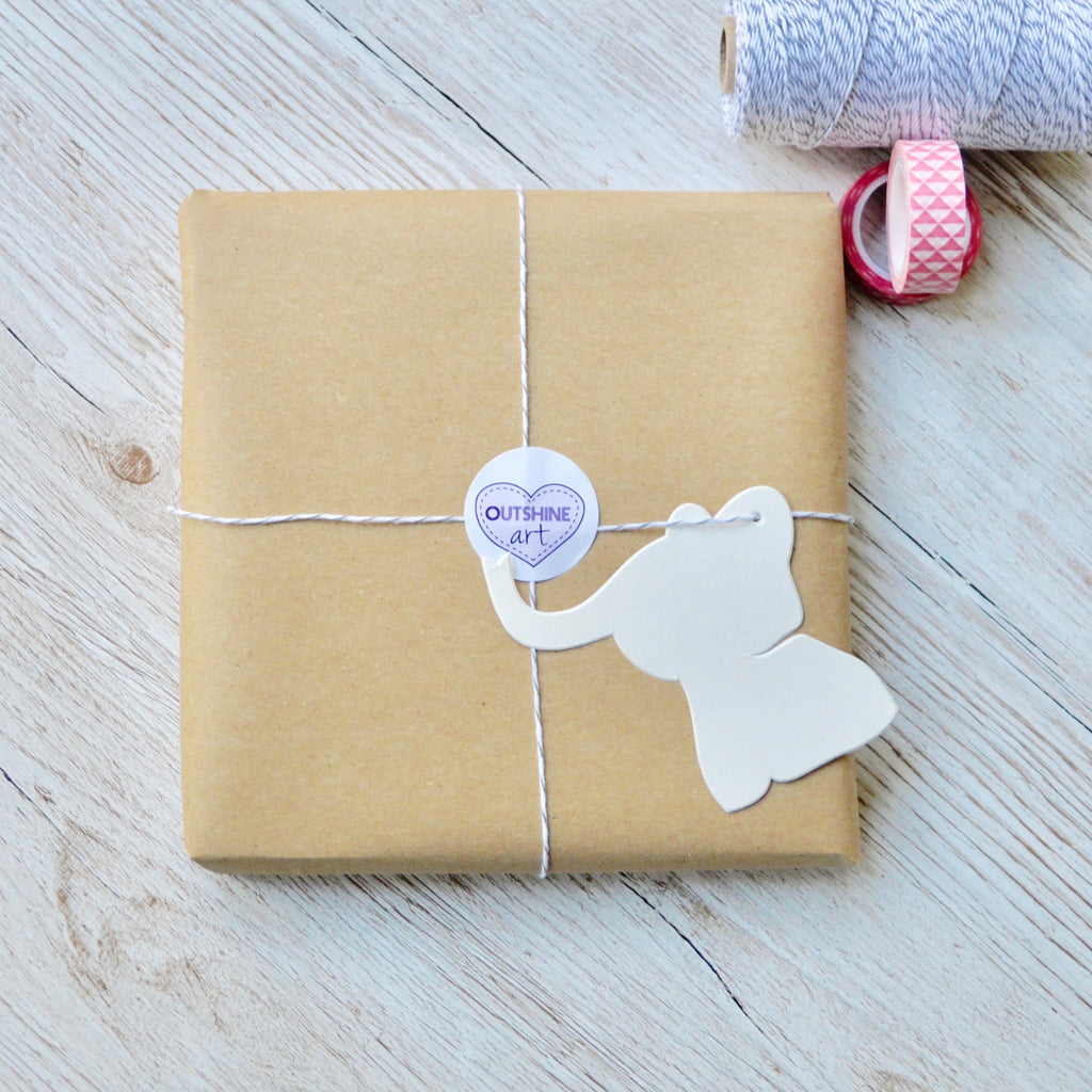 Personalised Baby Elephant Cut-Out Art | Outshine Art