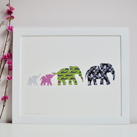 Large Framed Elephant Family Artwork