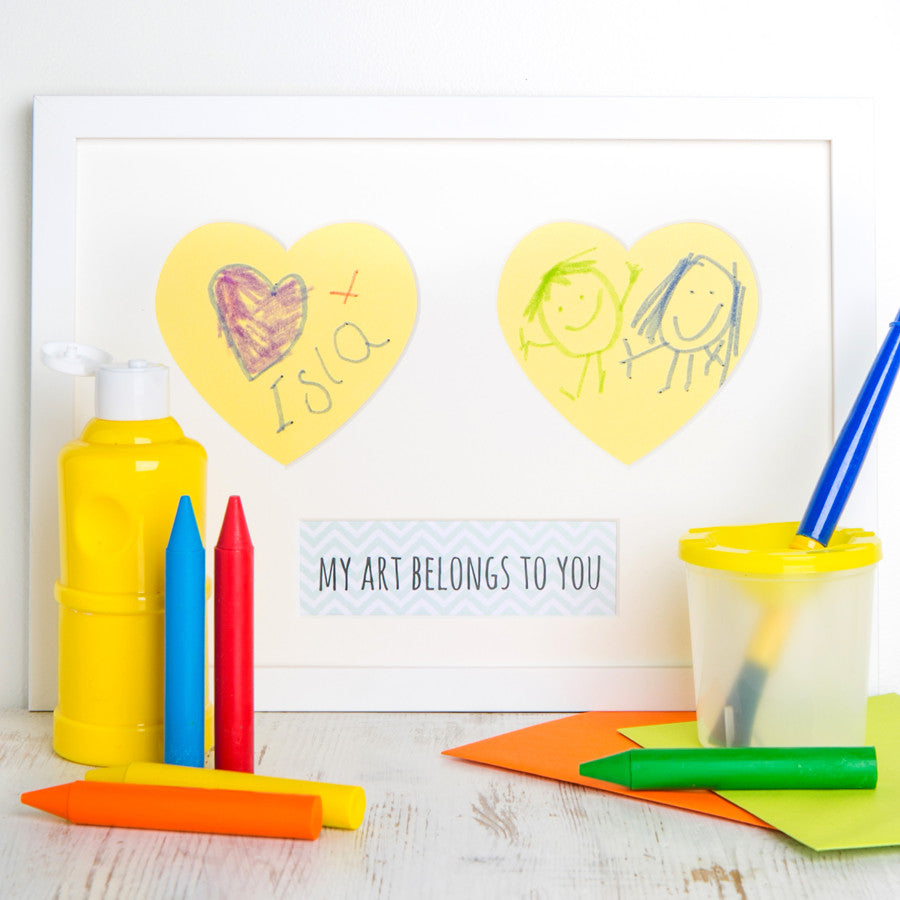 Framed Double Heart Child's Art Picture Kit