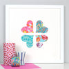 Framed heart flower wedding gift artwork in turquoise and pink patterns within a white frame.