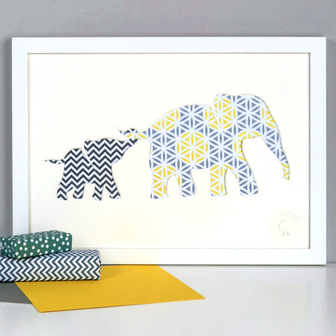 Personalised Baby Elephant and Mother Artwork