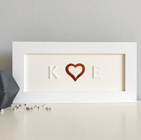 Personalised Heart and Initials Framed Picture