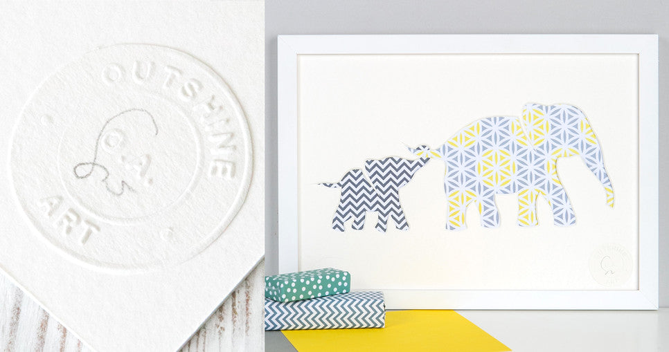 Outshine Art Baby Elephant and Mother Picture