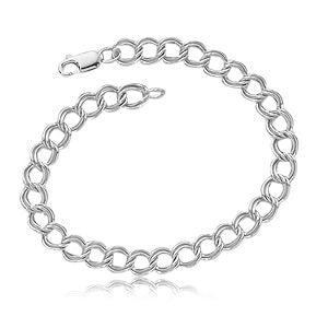 Sterling Silver Medium Double Curb Link Charm Bracelet