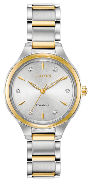 The CITIZEN Corso collection offers a classic, contemporary style for the simple watch wearer. A functional simplicity with a touch of elegance. Featured in gold-tone stainless steel with a complimentary silver-white dial with diamond accents. Featuring our Eco-Drive technology – powered by light, any light. Never needs a battery. Caliber number J730.