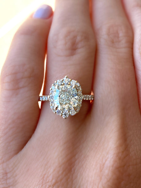 Custom Cushion Cut with Fancy Halo Engagement Ring