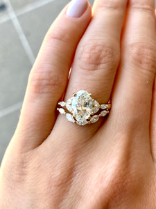 Custom Oval and Marquise Diamond Engagement Ring