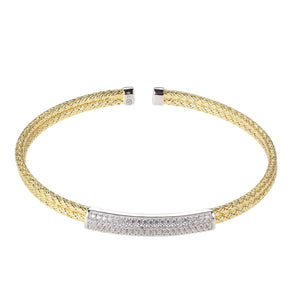 Sterling silver with an 18K yellow gold finish. CZ accents. 2mm Double Cuff. Charles Garnier Paris