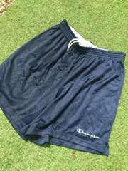Vintage Navy Blue Champion script Shorts (M)