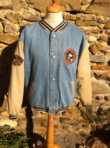 Vintage Disney Mickey Mouse Denim Bomber