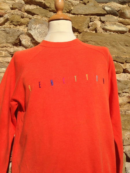 Vintage Orange space lettering Benetton Sweater