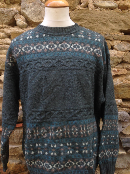 Forest Green patterned Benetton Knit (L)