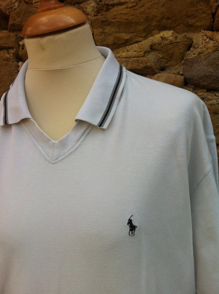 White Ralph Lauren Drag Collar Top