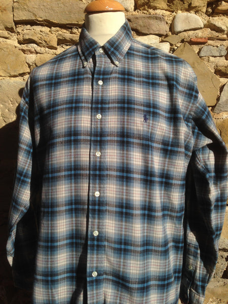 Blue checked Polo Flannel (L/XL)