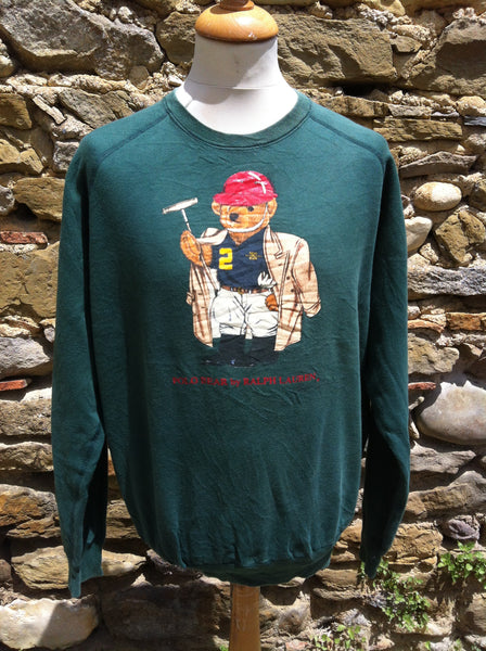 Vintage Bottle Green Polo Bear Sweater
