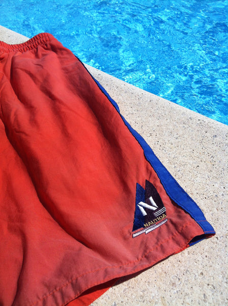 Orange Nautica Patch Shorts (M/L)
